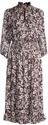 Shoshanna Jasper Floral Silk Metallic A-Line Midi Dress