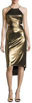 Halston Sleeveless Cutout Metallic Jersey Midi Dress, Bronze