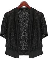 Fashion Showcase Women's Plus Size Short Sleeve Lace Splicing Front Open Bolero Shrug Tops (2XL, )