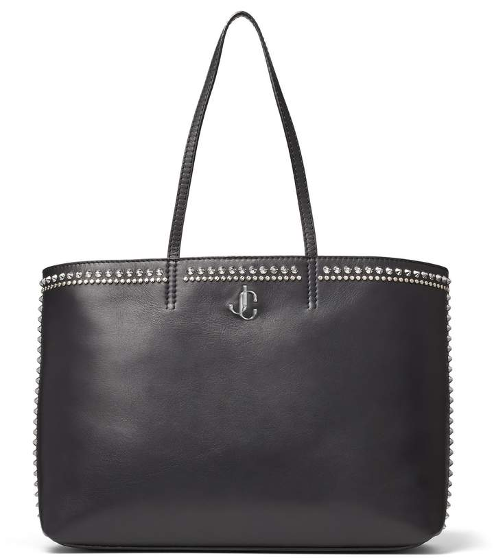 Jimmy Choo NINE2FIVE E/W Black Smooth Calf Leather Tote Bag with Stud Embellishment
