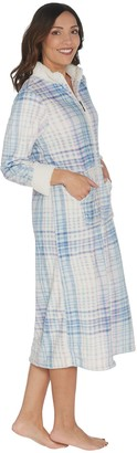 Stan Herman Petite Printed Silky Plush Robe with Sherpa Trim