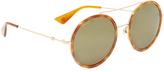 Gucci Urban Web Block Round Aviator Sunglasses
