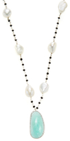 Meira T Silver, Amazonite, Pearl & 0.54 Total Ct. Diamond Long Station Necklace