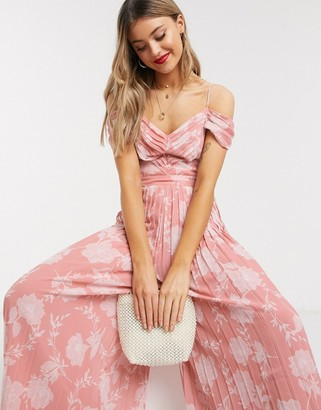 Forever New pleated wide leg jumpsuit in pink floral