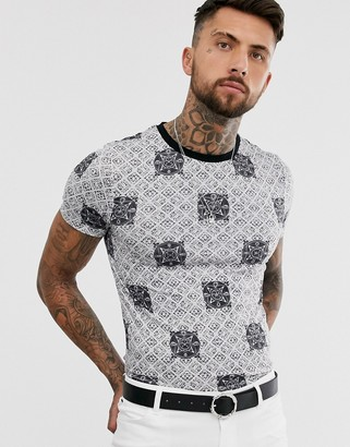 Asos Design DESIGN skinny fit t-shirt with all over geo print-Black