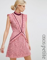 Asos Lace Shift Dress with Ruffle Detail and Contrast Trim
