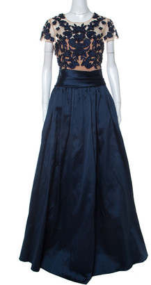 Marchesa Midnight Blue Floral Embroidered Tulle Mikado Cap Sleeve Gown M