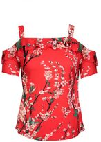 Quiz Red Flower Print Strappy Top