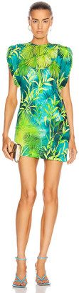 Versace Mini Ruched Sleeve Palm Dress in Green | FWRD