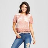 Xhilaration Women's Velvet Lace-Trim T-Shirt Juniors')