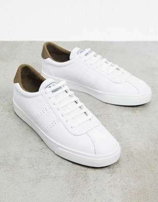 Superga 2843 back tab lace up trainers in white and green
