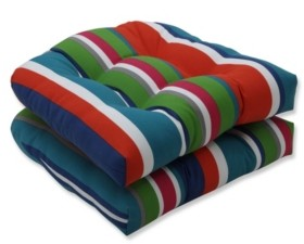 Pillow Perfect St. Lucia Stripe Wicker Seat Cushion, Set of 2