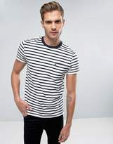Jack Wills Camberwell Pocket T-Shirt Stripe Logo Slim Fit In White