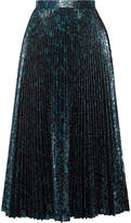 Prada Pleated Metallic Jacquard Midi Skirt - Blue