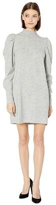 WAYF Lola Puff Sleeve Sweater Dress (Heather Charcoal) Women's Clothing