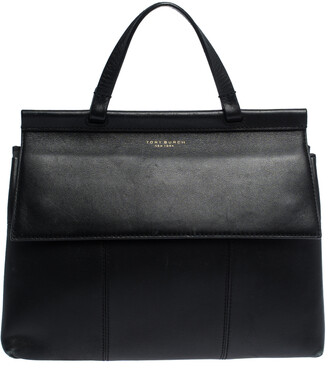 Tory Burch Black Leather Block T Top Handle Bag