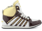 DSQUARED2 White, brown and gold leather trainers with shoe laces
