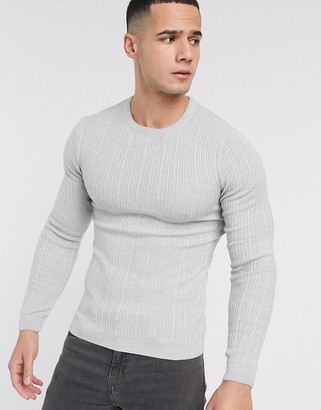 Asos Design DESIGN muscle fit irregular ribbed sweater in gray