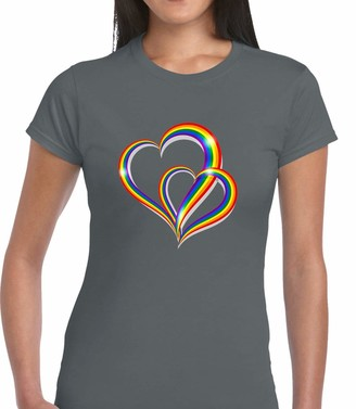 Crown Designs 2 Pride Hearts LGBTQ Community Out & Proud Premium Quality Fitted T-Shirt Top for Women and Teens - Grey/XL - 12/14