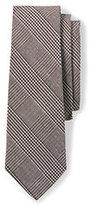 Lands' End Men's Silk Prince of Wales Necktie-Dark Asphalt/Indigo Slate