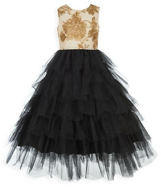 Badgley Mischka Gilr's Floral Tutu Ball Gown