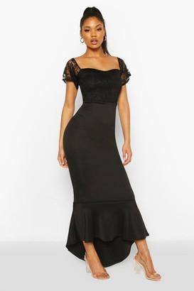 boohoo Lace Bardot Fishtail Maxi Dress