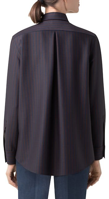 Thumbnail for your product : Akris Pinstriped Stretch Wool Pleated-Back Blouse