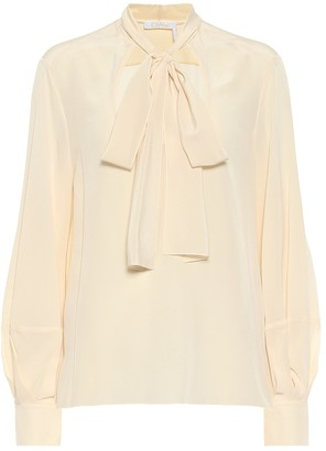 Chloé Tie-neck silk crepe de chine blouse