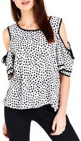 Wallis Women's Dot Print Cold Shoulder Frill Top
