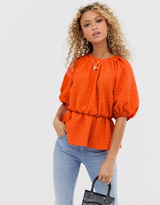 Asos Design DESIGN short sleeve waisted top in textured fabric