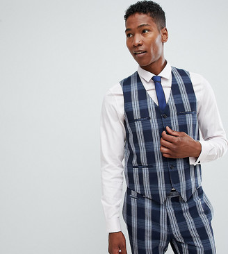 Noak skinny suit vest in check-Navy