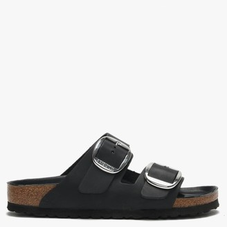 Birkenstock Arizona Big Buckle Black Leather Two Bar Mules