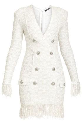 Balmain Fringed Tweed Button Mini Dress