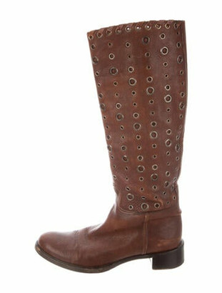 Prada Leather Distressed Accents Riding Boots Brown