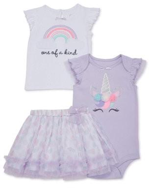 Wonder Nation Baby Girl T-shirt, Bodysuit & Tutu Skirt, 3pc Outfit Set