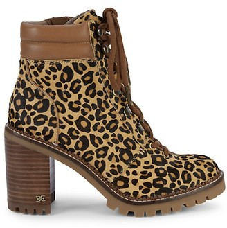 Sam Edelman Sade Leopard Calf-Hair Stacked Heel Combat Boots