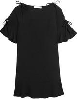 See by Chloe Ruffled Crepe Mini Dress - Black