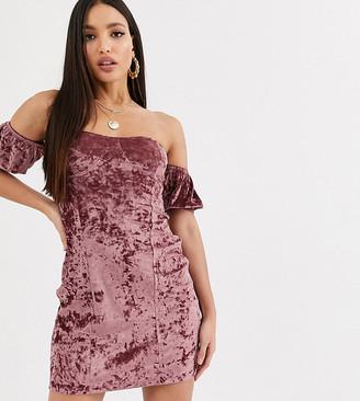 Asos Tall ASOS DESIGN Tall velvet off the shoulder mini dress in mauve