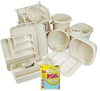CrazyGadget® 12PC Kitchen Essentials Bumper Plastic Starter Set. Kitchen & Home Accessories - Silver