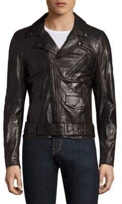 Belstaff Logo-Print Leather Jacket