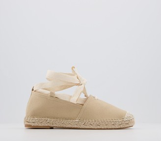 Office Farie Lace Up Flat Espadrilles Off White
