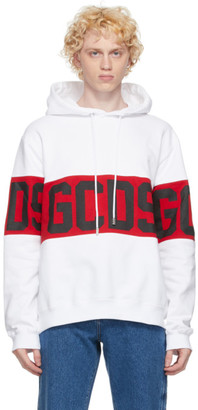 GCDS White Band Logo Hoodie