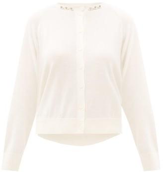 Simone Rocha Pearl-embellished Wool-blend Cardigan - Womens - Ivory