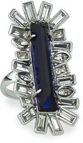 Alexis Bittar Miss Havisham Baguette Crystal Cocktail Ring, Blue