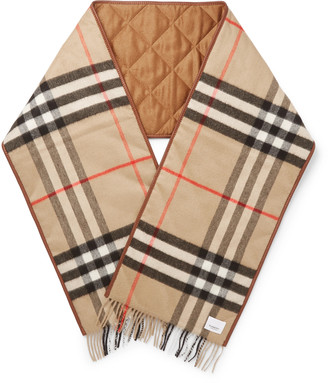 Burberry Reversible Leather-trimmed Quilted Fringed Checked Cashmere Scarf - Brown