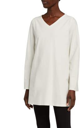Eileen Fisher Plus Size V-Neck Stretch Crepe Side Slit Tunic