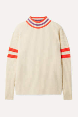 The Elder Statesman Odyssey Striped Ribbed Cashmere Sweater - Ivory