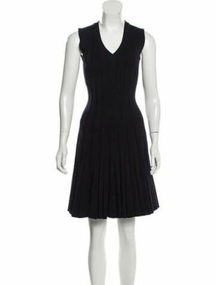 Alaia Virgin Wool Sleeveless Dress Navy