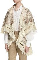Chufy Tramando Embroidered Wool Poncho Vest, White