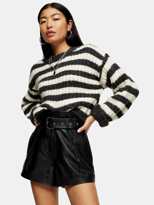 Topshop PU Belted Shorts - Black